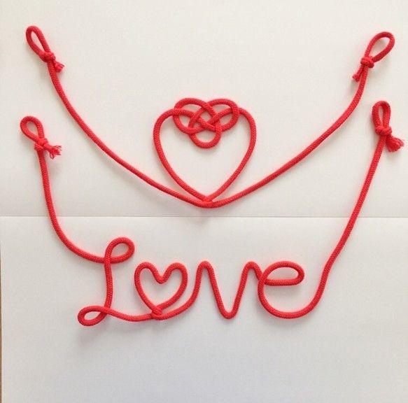 赤い糸♡*+°LOVE&水引ハート 2点SET