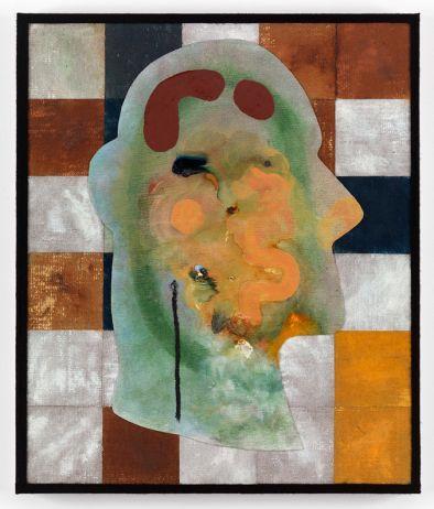 Dave McDermott | Dos Cabezas | 2013 | Jute, linen, canvas, oil, marine varnish, yarn on panel | 63.5 x 35.3 cm