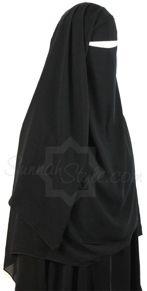 Long Two Piece Niqab (Black) by Sunnah Style #SunnahStyle #niqabstyle #niqaab