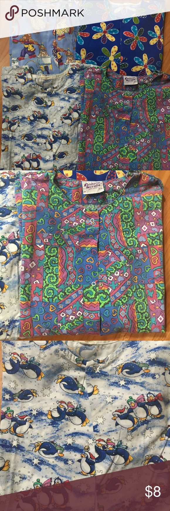 """(4) Size MEDIUM Scrub Jackets Lot of (4) Used, Size Medium, Scrub Jackets. Various brands & Various Prints. Some do not have tags in them, as I had previously cut them out. One price takes all 4 jackets! These had approx $100 value brand new. Check out more scrubs in my other listings. NO BUNDLES, as I have created this """"bundle"""" for you at one low price w/ one shipping fee. Various Jackets & Coats Utility Jackets"""