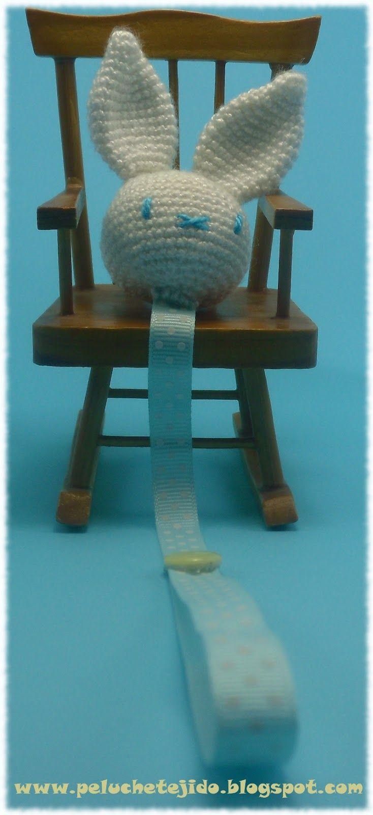 """Cabeza Conejo Amigurumi para broches , coleteros, chupeteros... ~ Patrón Gratis en Castellano ( Click en las letras azules """" Descargar patrón cabeza conejito y osito en pdf"""")"""