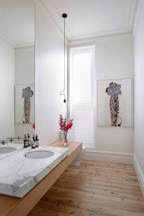 White And Wood Details Bathroom Modern Meets Traditional The Lovely Hawthorn House In Melbourne Australia