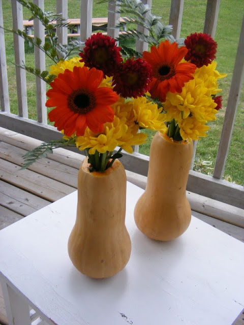 Diy fall centerpiece make vases out of pumpkins and