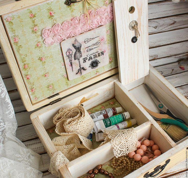 Купить чемоданчик для рукодельницы ВИНТАЖ. - бежевый, чемодан, чемоданчик, шкатулка деревянная, шкатулка для мелочей