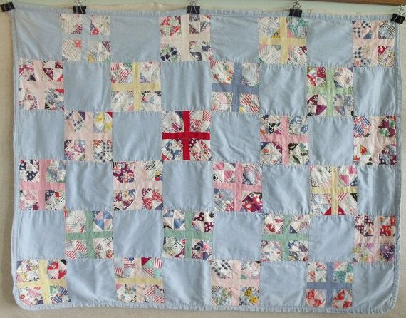Vintage Feed Sack Baby Quilt by robinseggbleunest on Etsy