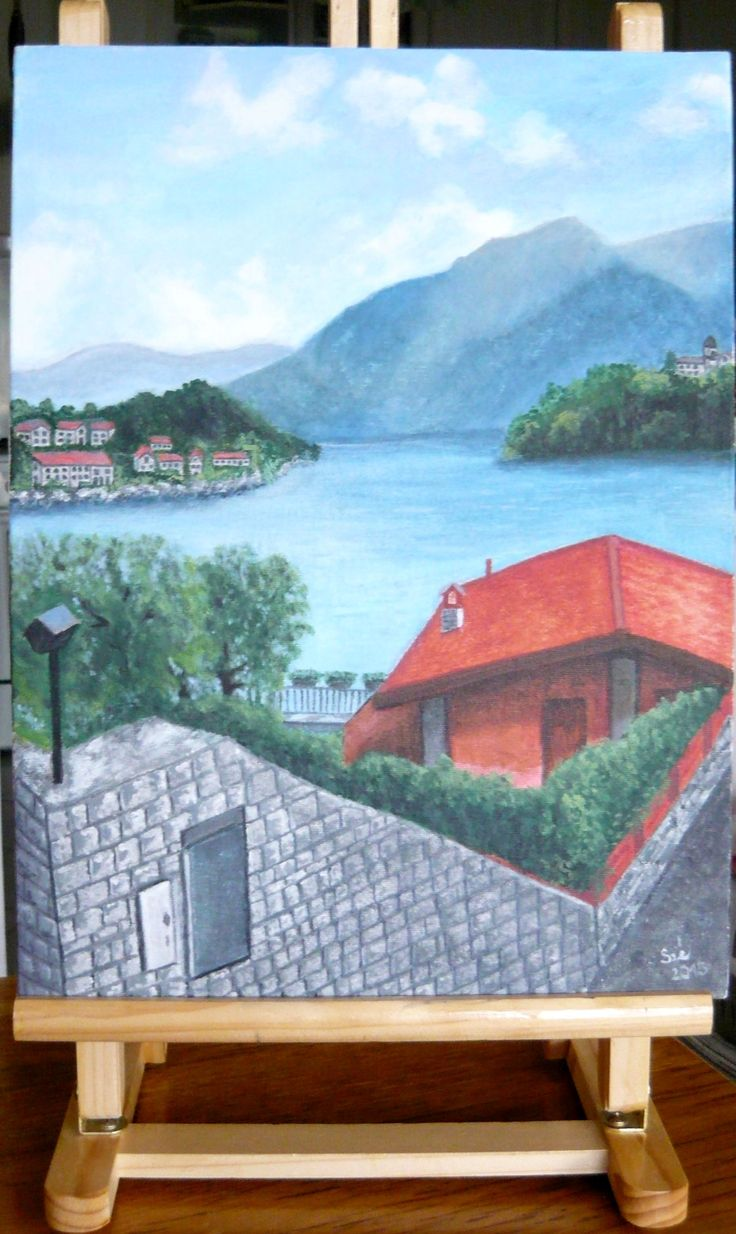 created by: Kovácsné Sz. Éva - Bellagio, lake Como,  acrylic, 30x40 cm canvas (photography: Kovácsné)