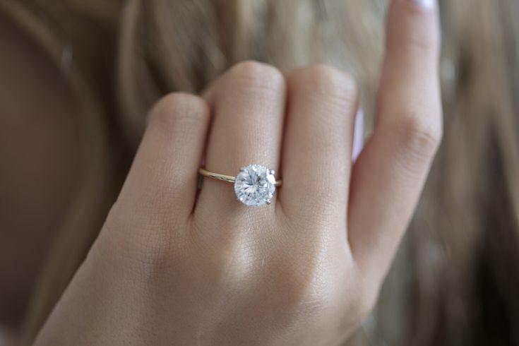 2 65 Carat Solitaire Diamond Ringhidden Halo Round Diamond Etsy Round Brilliant Engagement Ring Two Tone Engagement Rings Diamond Engagement Rings