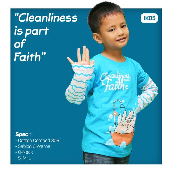 Kaos Anak Muslim Bilhikma IK05 Tema : Cleanliness is Part of Faith