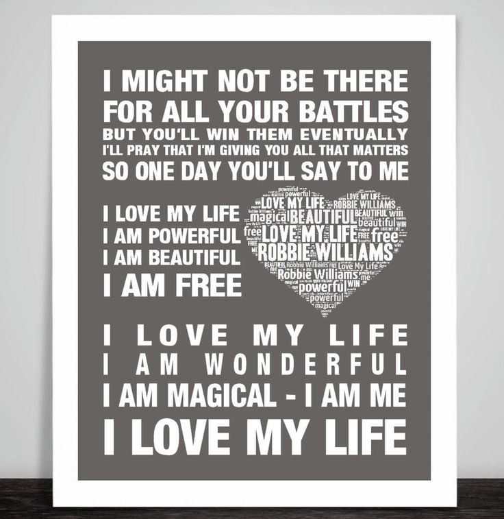 Robbie Williams Love My Life Music Love Song Lyric Print Poster Valentine Gift