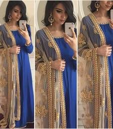 Buy Blue georgette embroidered party wear gowns party-wear-gown online