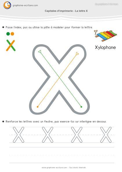 Feuile d'Écriture MS Capitales Obliques Complexes – X Y Z K W. Apprendre à écrire les CAPITALES d'imprimerie en Moyenne Section. PDF fiche écriture MS.