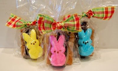 Easter S'mores gift package. Peeps, miniature Hershey bar, and graham crackers. So cute.