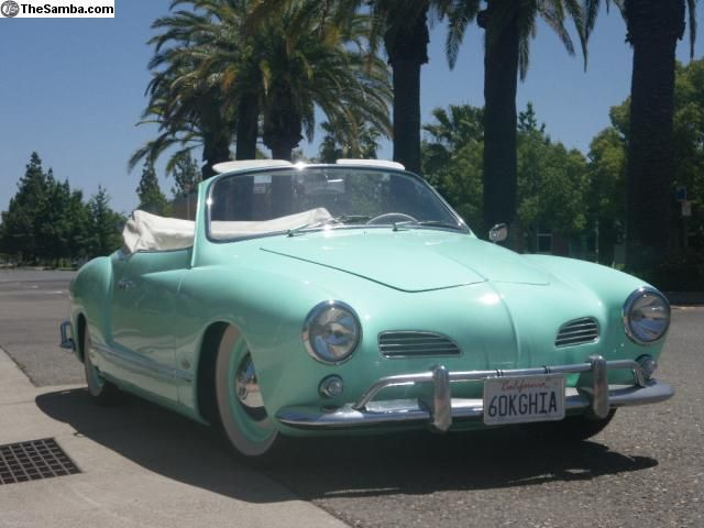 Karman Ghia aqua green had a blue stsation wagon, hit the house with it, oops!
