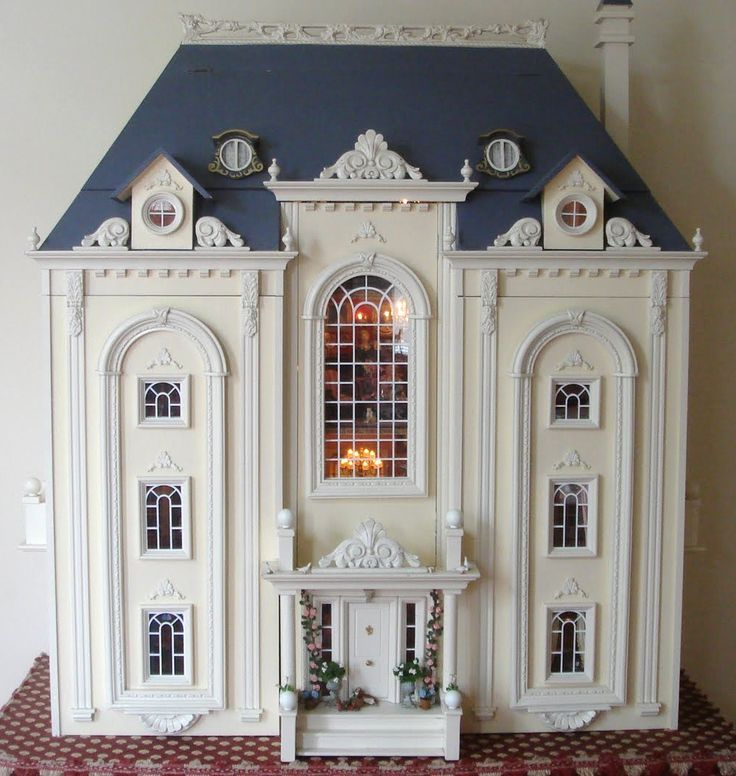 Beautiful dollhouse with great style and detail. Notice the nice soft one color of the whole house. Rick Maccione-Dollhouse Builder www.dollhousemansions.com
