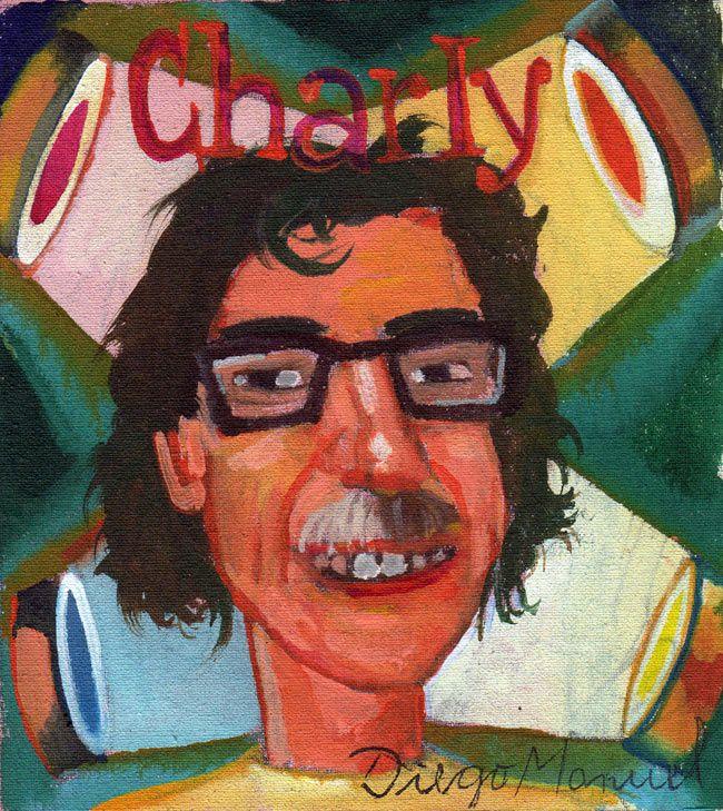 Charly Garcia, acrílico sobre tela, 15 x 14 cm, 2014