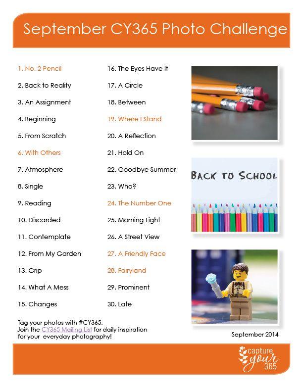 CY365 September 2014 Photo Challenge List