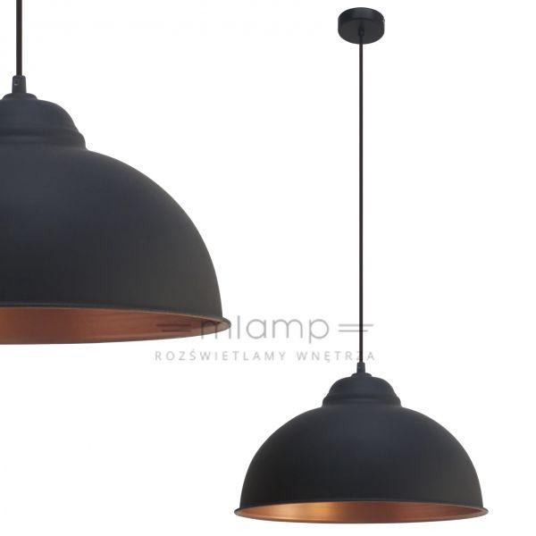 LAMPA wisząca TRURO 2 49247 Eglo metalowa OPRAWA zwis kopuła czarny