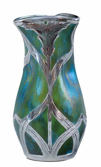 ❤ - Loetz    Candia Papillon Silver Overlay Vase - 1905.