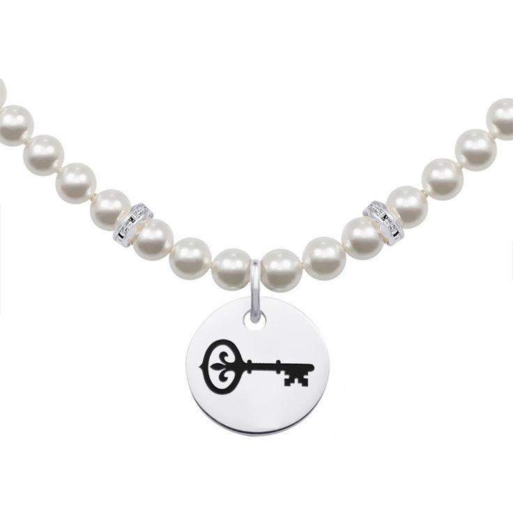 Kappa Kappa Gamma Symbol Pearl Necklace With Round Charm