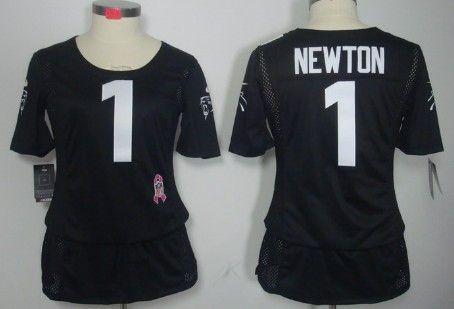 Nike Carolina Panthers #1 Cam Newton Breast Cancer Awareness Black Womens Jersey
