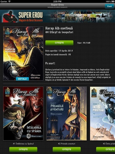 Comic book fans can now read Harap Alb continuă online using the Super Erou iOS & Android app