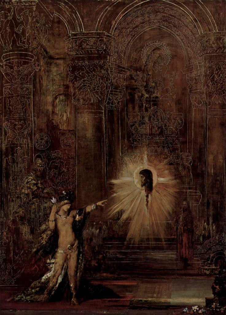 """G. Moreau, L' apparition ,""""la mantenuta - cangiante amalgama di elementi ignoti e diabolici, incastonato, come un' apparizione di Gustave Moreau, tra fiori velenosi intrecciati a preziosi gioielli-..."""""""