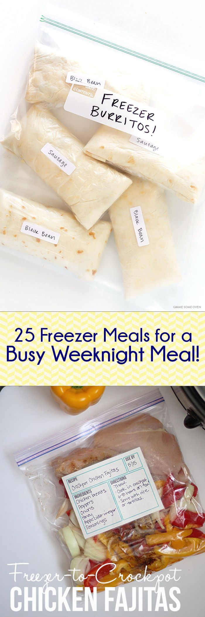 25 Freezer Meals for Busy Weeknights -- Lots of great breakfast ideas, too!! Spend a few hours cooking, eat for two weeks!! Yes, please.