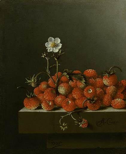 Adriaen Coorte, Still Life with Wild Strawberries, 1705