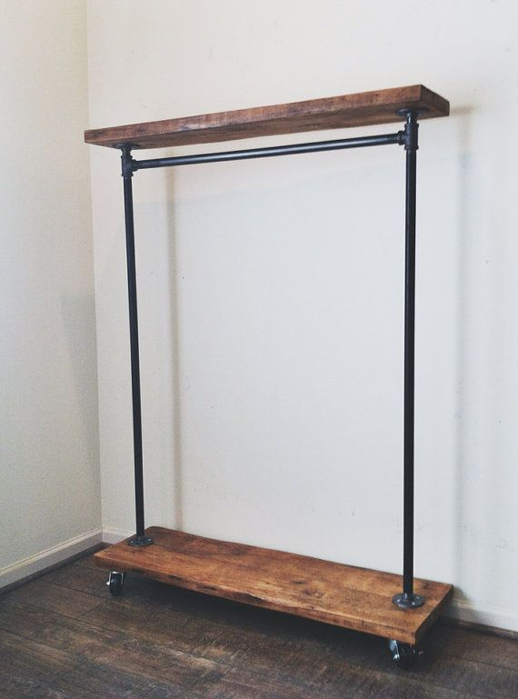 rustic industrial reclaimed wood rolling garment rack with top shelf