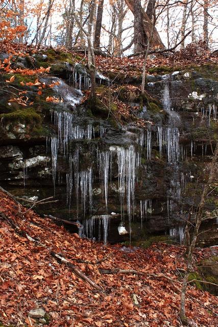 Icy Bluffline in Upper Buffalo River Wilderness Area, Northwest Arkansas, USA