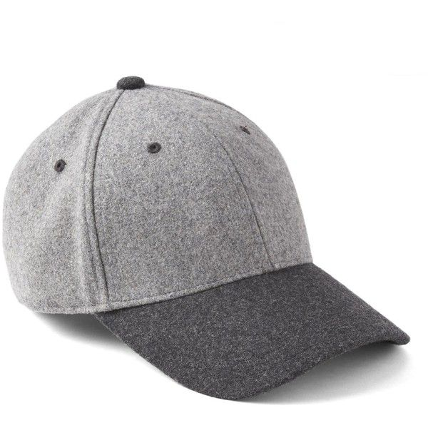Gap Men Two Tone Wool Baseball Hat ($25) ❤ liked on Polyvore featuring men's fashion, men's accessories, men's hats, mens wool hats, mens hats, mens ball caps, mens baseball hats and mens baseball caps