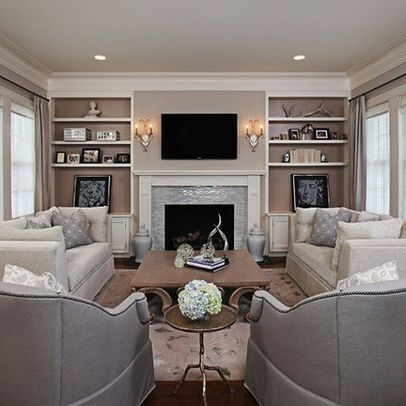 Love this wall becomes the feature of the living room for Family room furniture layout tv fireplace