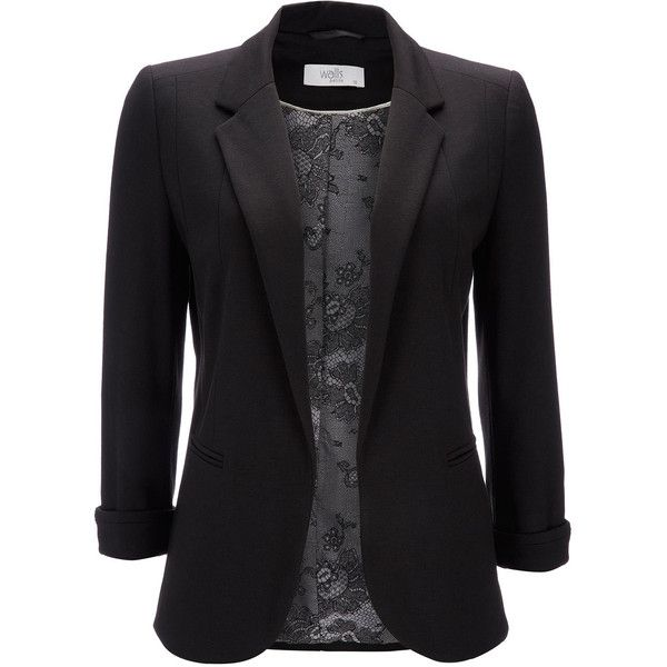 Black Petite Blazer ($56) ❤ liked on Polyvore featuring outerwear, jackets, blazers, tops, black, petite, black cropped jacket, cropped blazer, cropped jacket and petite black jacket