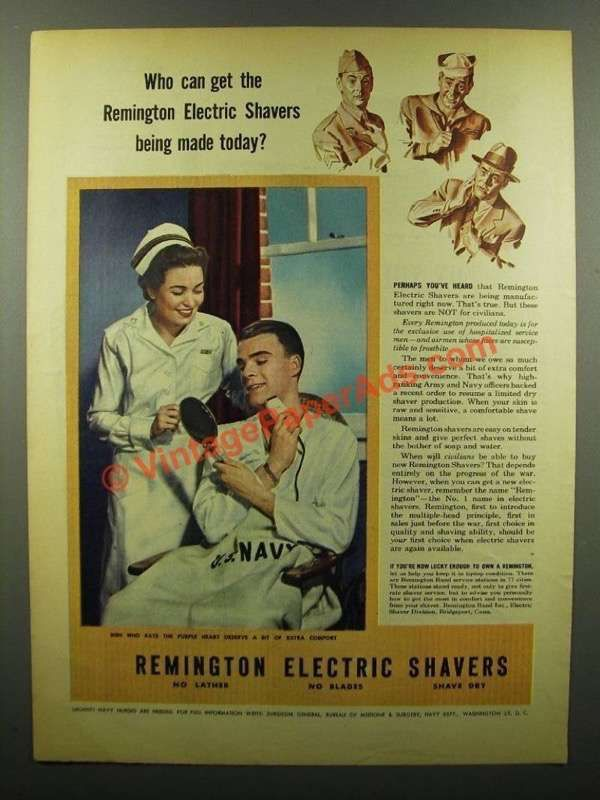 1945 Remington Electric Shavers Ad - Who Can Get?