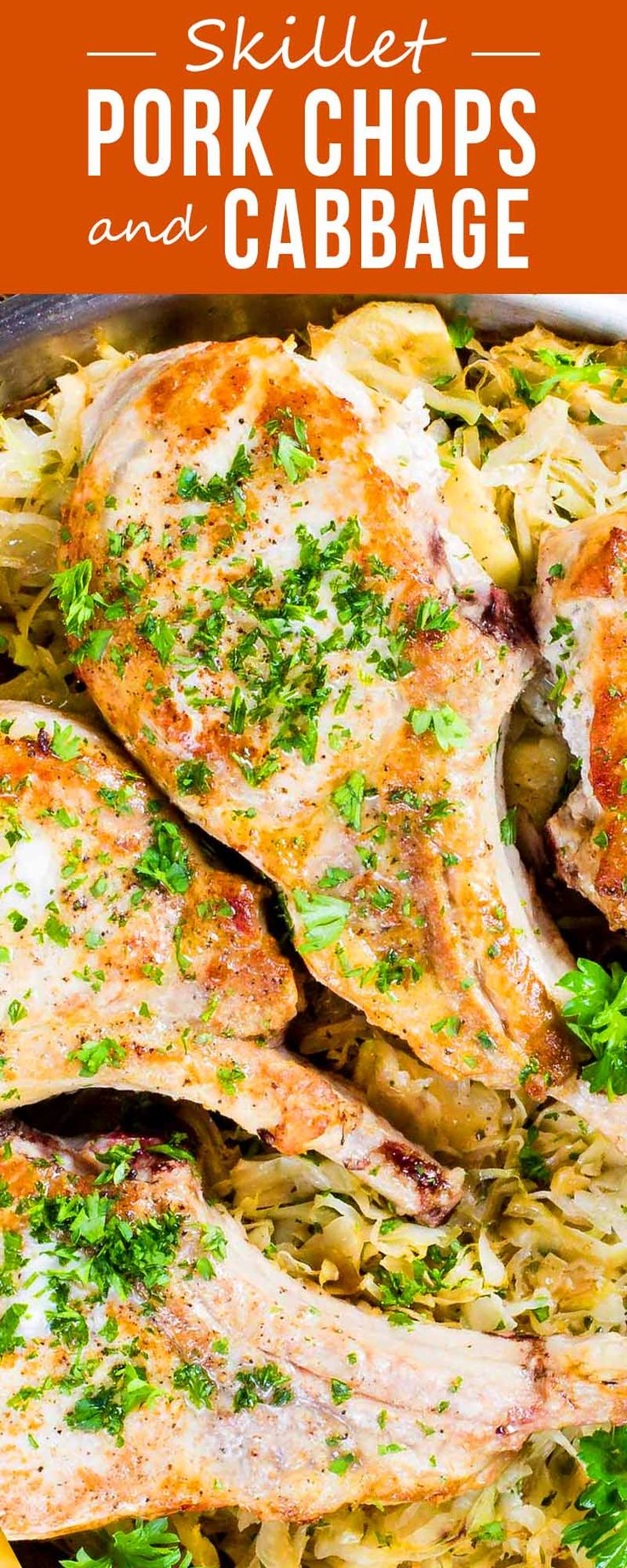 Pork chops cooked low and slow become so tender and juicy—and so do the cabbage and apples that cook with them. #porkchops #cabbage #Germanfood #skilletdinner