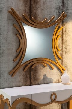 BySehpacı Bronze Dekoratif Ayna Gold