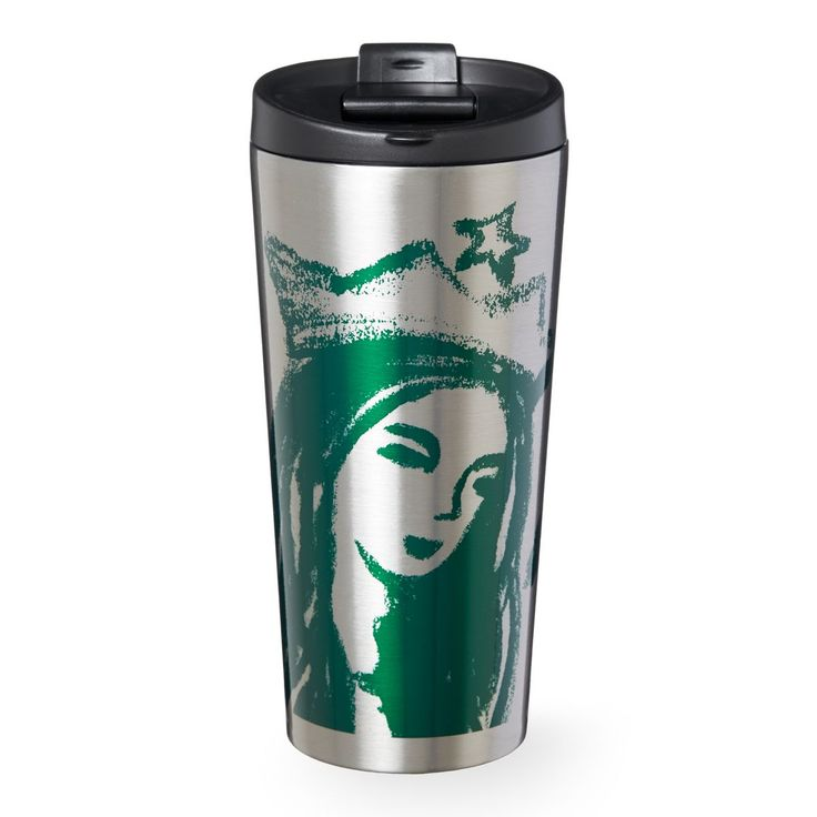 An insulating stainless steel tumbler with a Siren portrait sketched in green, part of the Starbucks Dot Collection.