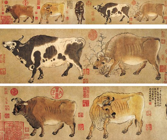 """Five Oxen"" is a painting by Han Huang, a prime minister in the Tang Dynasty (618–907). The painting was lost during the occupation of Beijing by the Eight-Nation Alliance in 1900 and later recovered from a collector in Hong Kong during the early 1950s. Now it is stored in the Palace Museum in Beijing."