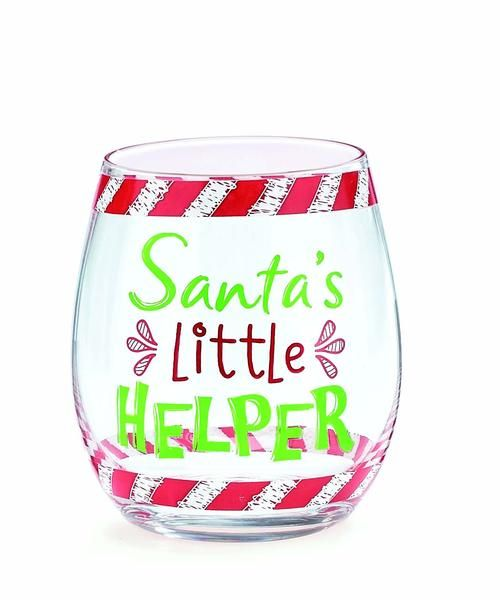 Santa needs help. This decal stemless wine glass from burton + Burton features the saying 'Santa's Little Helper' with green and red lettering. Perfect for last