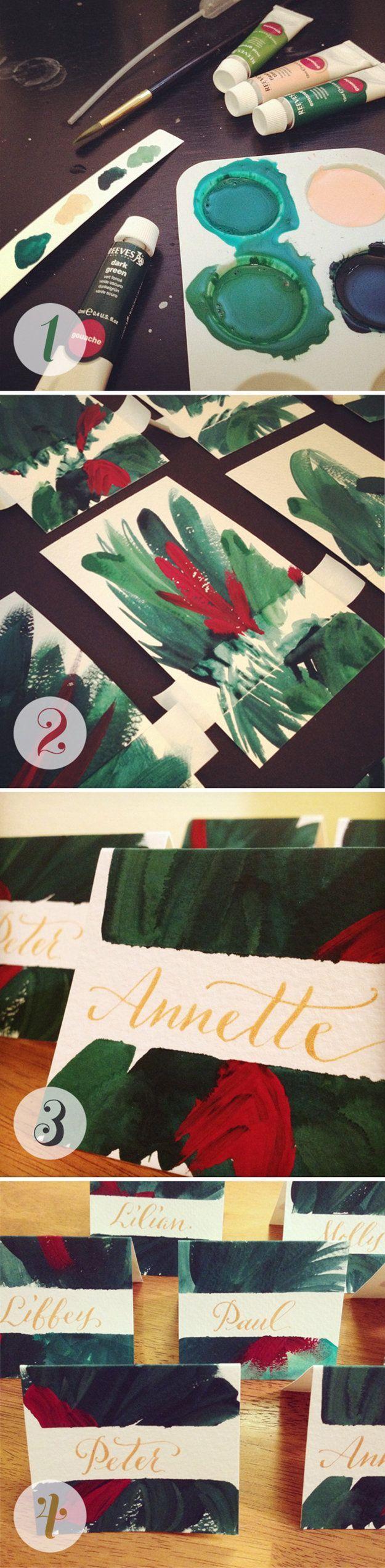 Christmas Cards! Hand-painted Christmas Card Inspiration | http://diyready.com/22-handmade-calligraphy-christmas-cards-diy-christmas-cards/