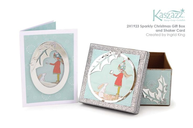 2H1923 Sparkly Christmas Gift Box and Shaker Card