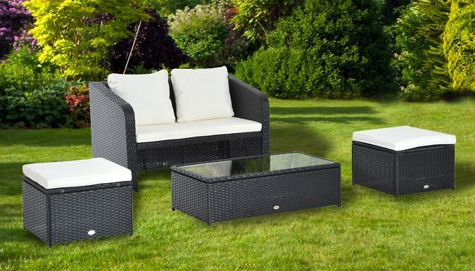 Buy 4-Piece Rattan Garden Sofa Set UK deal for just: £224.99 Pad out your patio with the 4-Piece Rattan Sofa Set      Includes a double sofa, two stools and a glass-topped coffee table      Makes a great addition to patios, conservatories or gardens      Crafted from a powder-coated steel frame and water-resistant PE rattan      Padded waterproof cushions offer comfortable support      Fire...