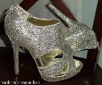 NEW Gold Glitter Sparkly Stilleto Heels 7  Prom - Club - Party - Cruise