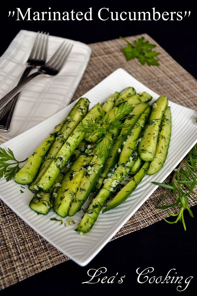 """Lea's Cooking: """"Quick Marinated Cucumbers""""  The best Russian way to eat cucumbers."""