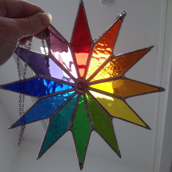 Big Star! Stunning Real Rainbow Stained Glass Suncatcher - pewtermoonsilver