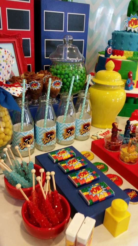 Candy at a superhero birthday party! See more party ideas at CatchMyParty.com!