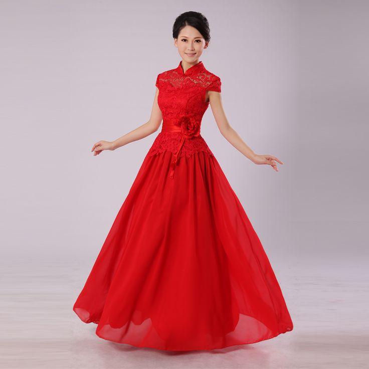 Cheongsam Dress-Chinese Wedding Dress   --love capsleeves!