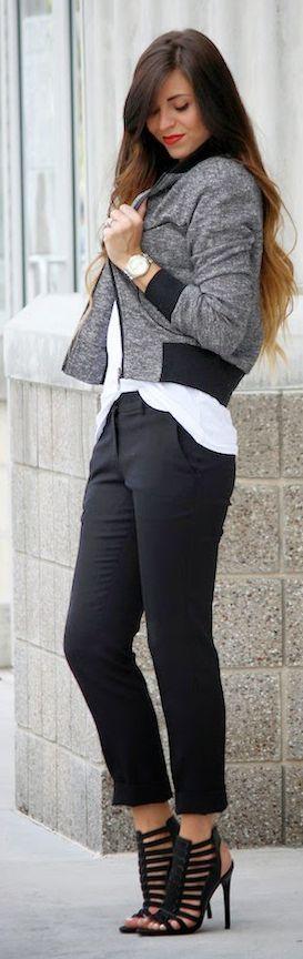 Street style black and grey bomber jacket