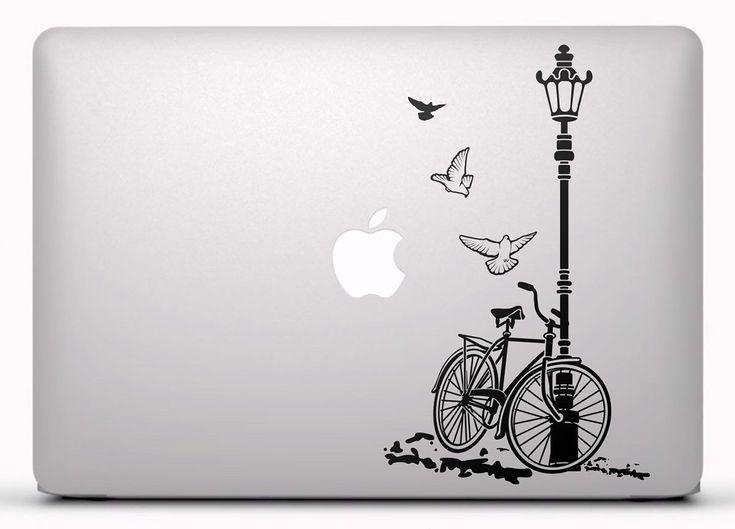 Pegatinas: Bicicleta y farola Vinilo para portátil, pegatina para Macbook #vinilosportatil  #pegatinasmac  #teleadhesivo