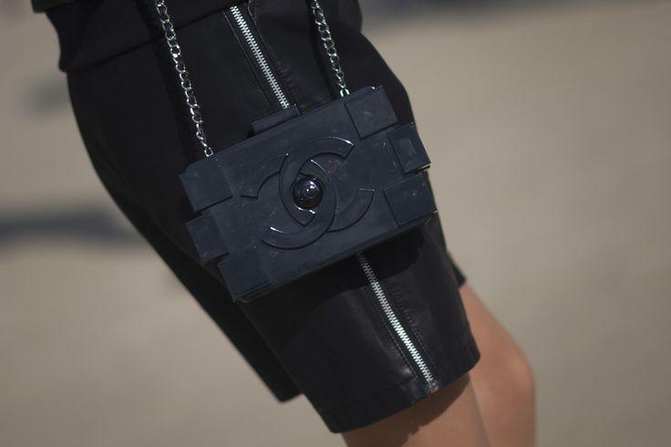 A black lego Chanel bag - Paris Fashion Week #StreetStyle Accessories Fall 2014